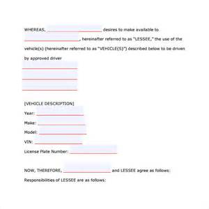 car leasing agreement template car lease agreement templates 8 sles exles format