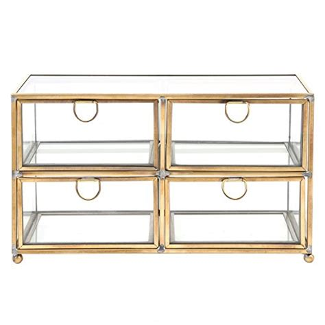 clear storage dresser vintage clear glass brass metal 4 drawer display box