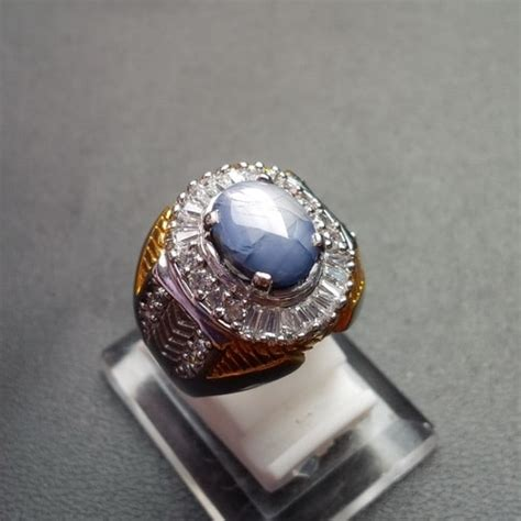 Mustika Black Safir cincin mustika blue sapphire birma pusaka dunia
