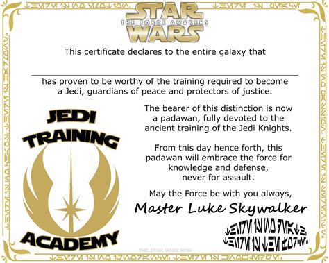 wars jedi certificate template free wars the awakens jedi academy