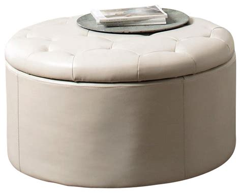 round leather cocktail ottoman coaster landen 5 piece round leather storage cocktail