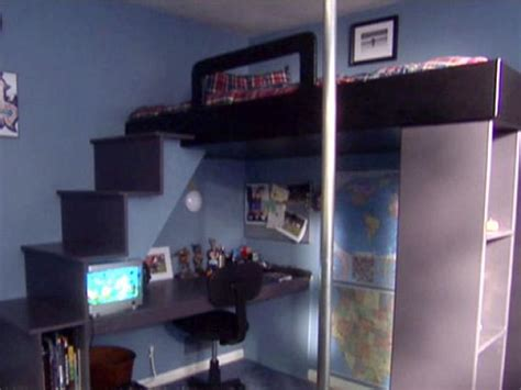 Bed Frame With Desk Underneath How To Build A Loft Bed With A Desk Underneath Hgtv
