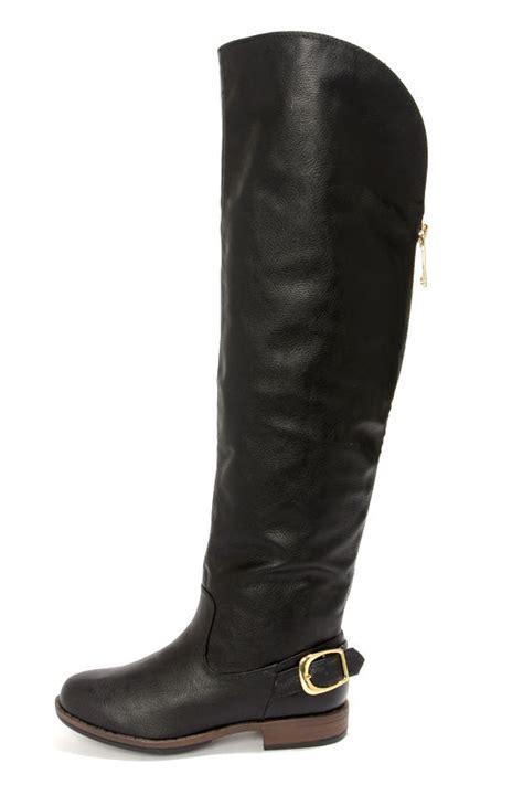 black boots the knee boots flat boots otk