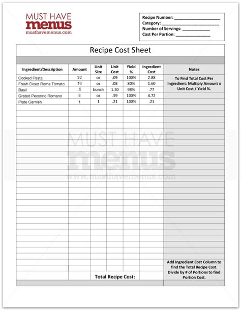 restaurant menu costing template recipe cost form page 1