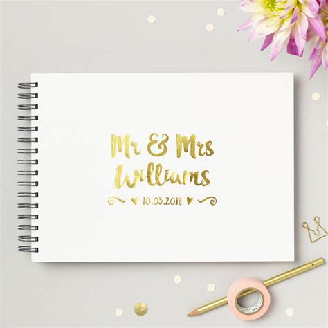 Wedding Guest Book Cover Diy by Personalised Mr And Mrs Wedding Guest Book By Give