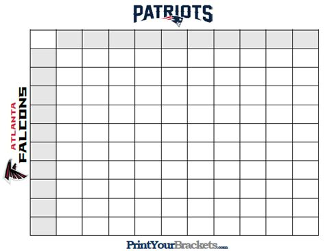 Super Bowl Squares Template How To Play Online And More Sbnation Com Bowl Box Template