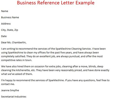 Reference Letter Exle Business Letters Of Reference Business Reference Letter Exle