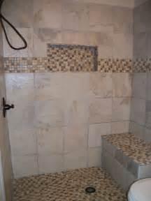 walk in shower with niche and bench doorless shower