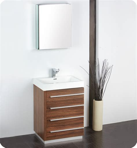 contemporary vanity bathroom fresca livello 24 quot walnut modern bathroom vanity