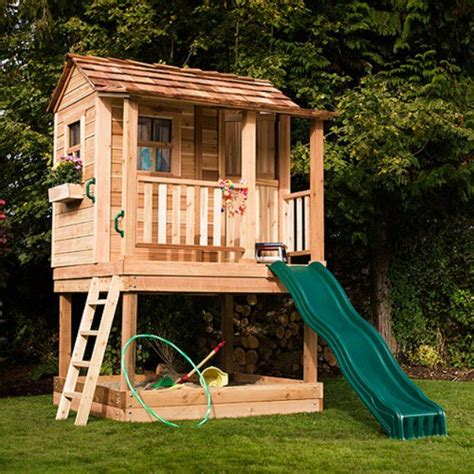 outdoor playhouse with slide and swing 17 best garden childrens house images on pinterest