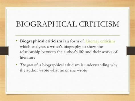 Biography Critique Exle | formalism and biographical criticism