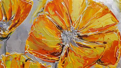 dipinti fiori astratti papaveri moderni arancioni vendita quadri