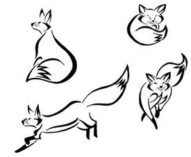 Fox Outlines by Outline Cliparts Co