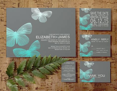 wedding invitation rsvp date modern butterfly wedding invitation set suite invites