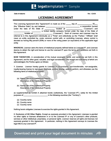 royalty free license agreement template licensing agreement template create a free license agreement