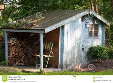Old garden shed stock photo image of chair leaves