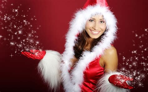 wallpaper christmas babe beautiful santa girls christmas girls in santa outfit