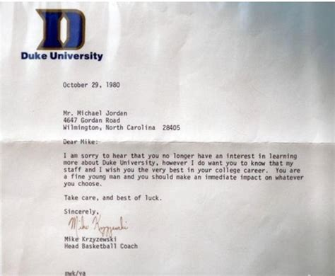 Acceptance Letter Of Kentucky Michael Said No To Duke But Coach K Still Sent Him This Letter Imgur