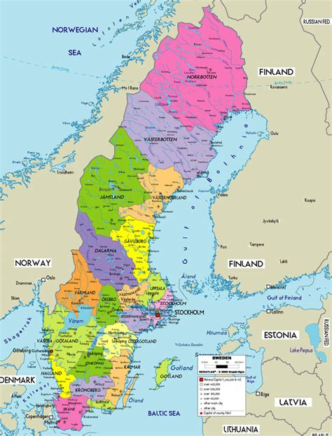 political map of scandinavia large political map of sweden