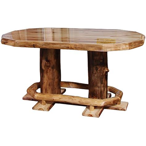 Log Dining Tables Light Aspen Oval Dining Table W Foot Rest Liquid Glass Top Rustic Log Reclaimed