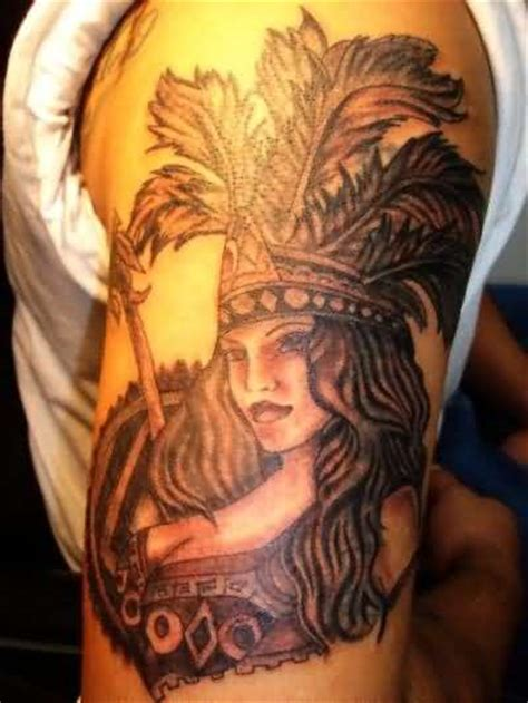 aztec girl tattoo aztec design