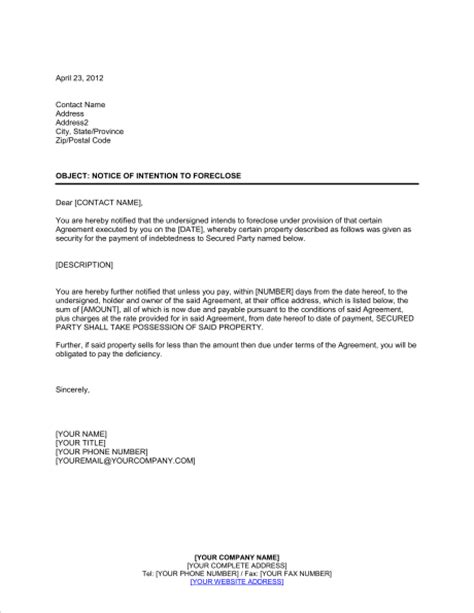 Letter Of Intent To Foreclose Mortgage Notice Of Intention To Foreclose Template Sle Form Biztree