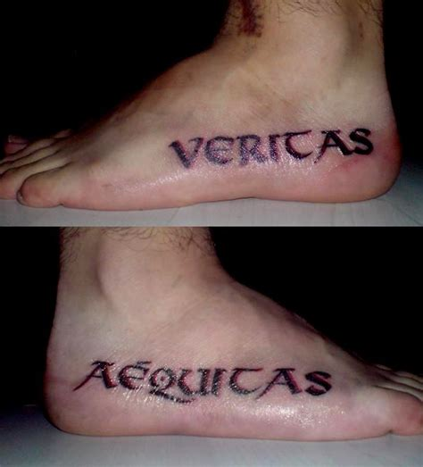 veritas aequitas tattoo cool completed pairs veritas aequitas tattoos on both side