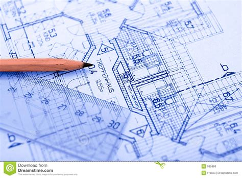 blueprint plans pencil on blueprint stock photo image of sketch
