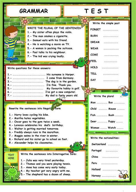 printable grammar quizzes grammar test worksheet free esl printable worksheets