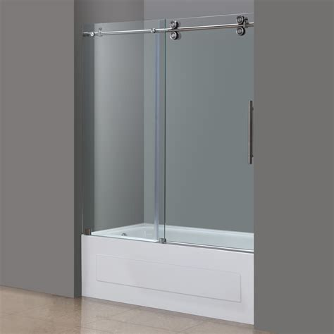 Shower Doors For Tubs Frameless Aston Langham 60 Quot X 60 Quot Completely Frameless Tub Height Sliding Shower Door Reviews Wayfair