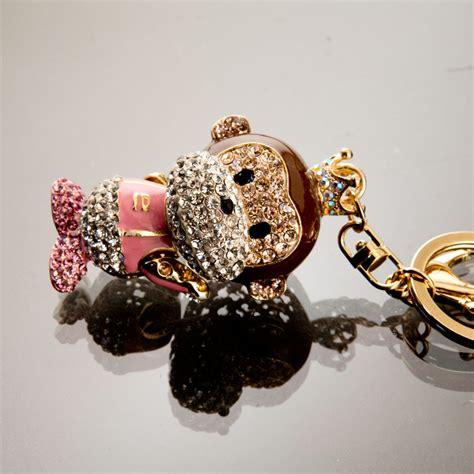 Rhinestone Keychain White pink and white monkey king rhinestone keychain
