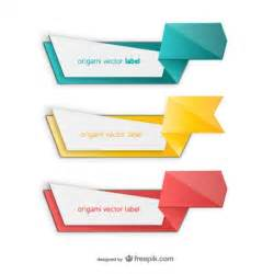 colorful origami label pack vector free download