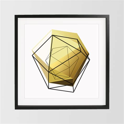 geometric home decor yellow gold geometric print 3d art geometric art home decor