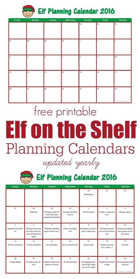 free printable elf on the shelf calendar elf on the shelf planning calendar the resourceful mama