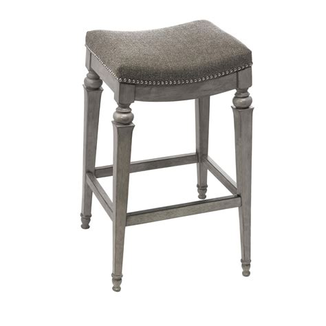 251 First Selby Gray Backless Non Swivel Counter Stool With Gray Fabric On SALE