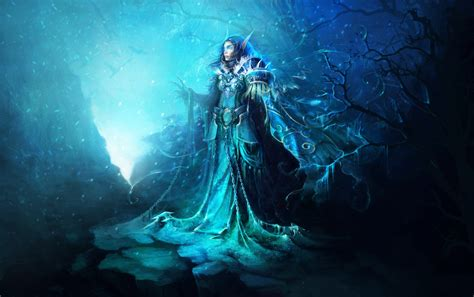 wallpaper blue fantasy wallpaper ice cold blue 2d digital anime fantasy