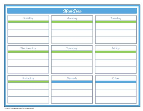 free printable weekly diet calendar printable weekly meal plan calendar template 2016