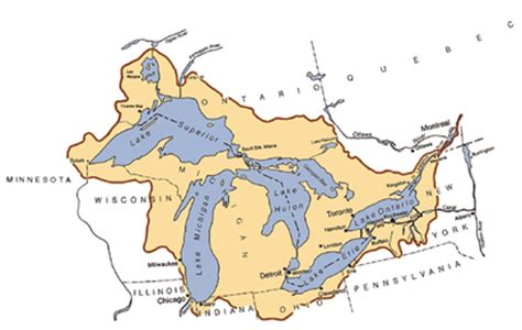 map of the five great lakes in the united states deq great lakes map
