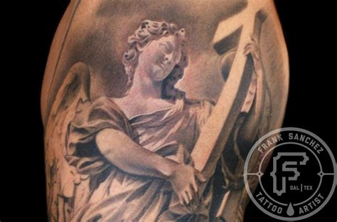 angel and cross tattoo frank tattoos religious statue