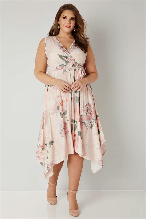 Bra Basic 2507 yours pink multi floral wrap dress with hanky hem