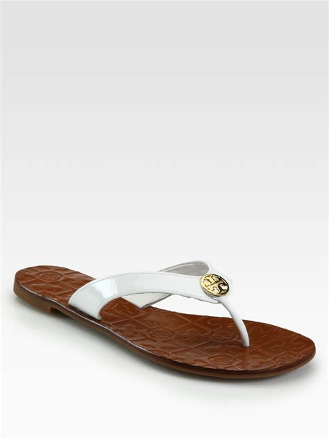 white burch sandals burch thora patent leather sandals in white lyst