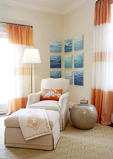 curtains with orange accents orange curtains contemporary living room janie