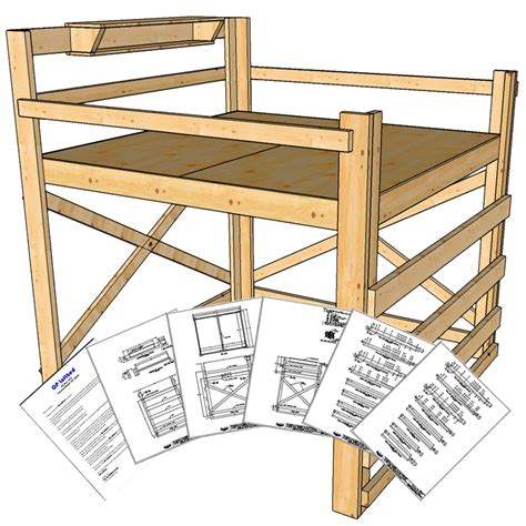 king size loft bed plans tall height op loftbed