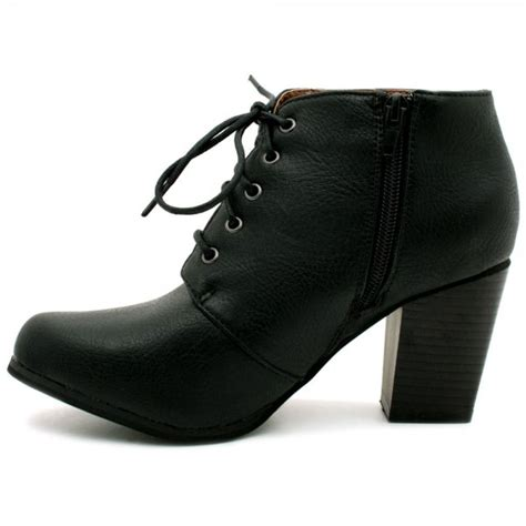 womens black leather style lace up block heel ankle boots
