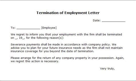 Letters Of Termination by Free Printable Letter Of Termination Form Generic