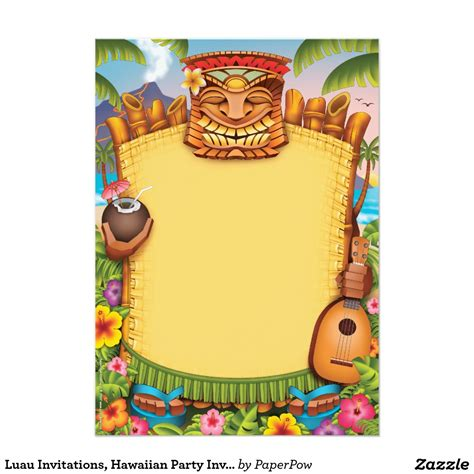 Hawaiian Invitation Card Template by Invitations Awesome Hawaiian Invitations
