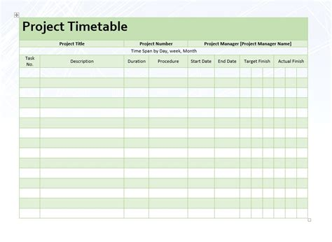 project timetable template project timetable 9 project timetable