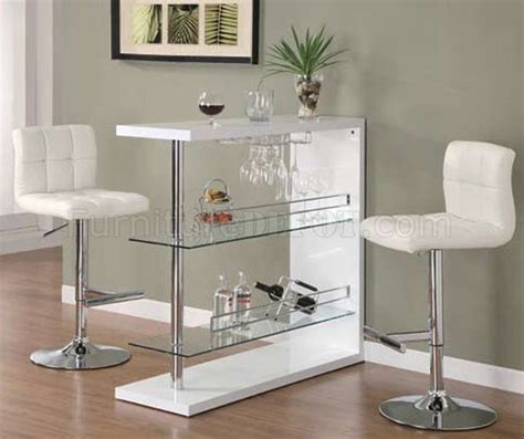 Modern Bar Table And Stools by Gloss White Finish Modern Bar Table W Optional Bar Stools