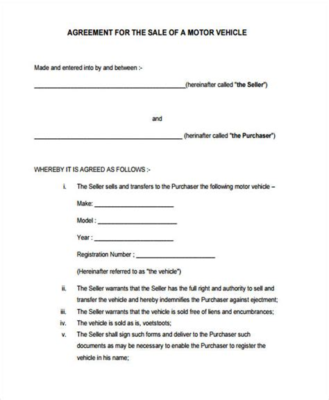 motor vehicle sales agreement template motor vehicle sales agreement template 28 images 10