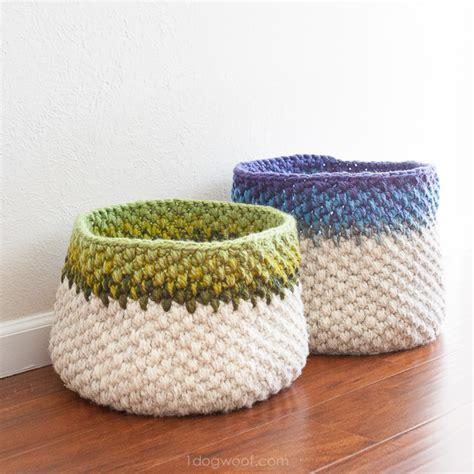 color block crochet basket pattern one dog woof
